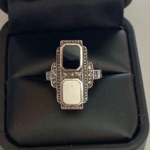 Vintage Sterling Onyx MOP Marcasite Ring